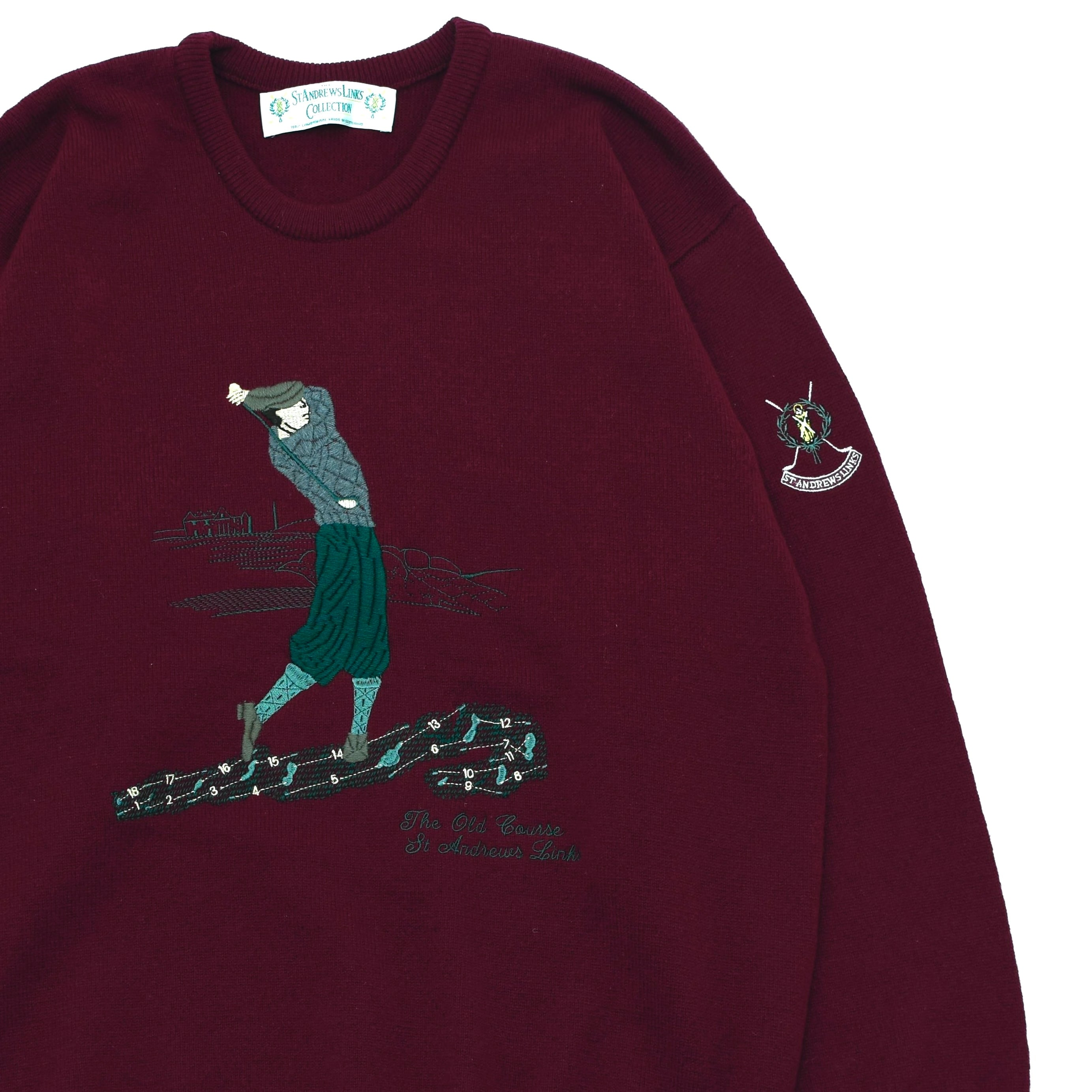 Golf pattern embroidery wool sweater