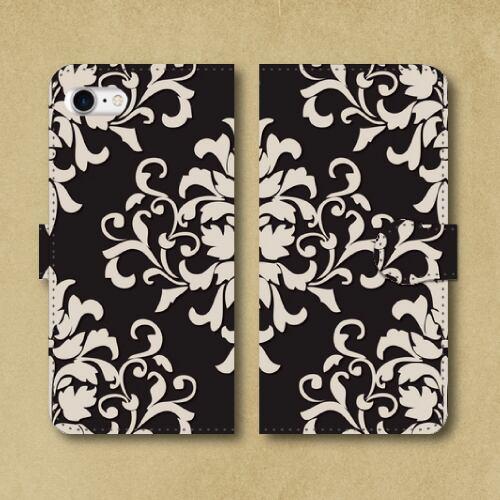 ダマスク柄(大)/ブラック(黒)/ダマスク織紋様/iPhoneスマホケース(手帳型ケース)