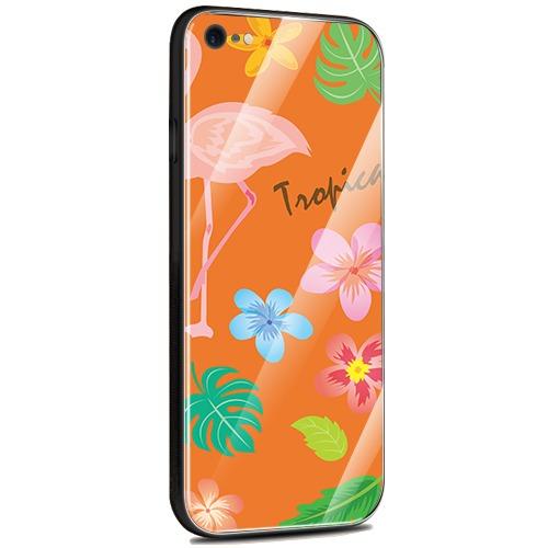 Jenny Desse iPhone 6 / iPhone 6S ケース カバー 背面強化ガラスケース  背面ガラスフィルム シリコンハイブリッドケース 対応 sim free 対応 トロピカル・オレンジ