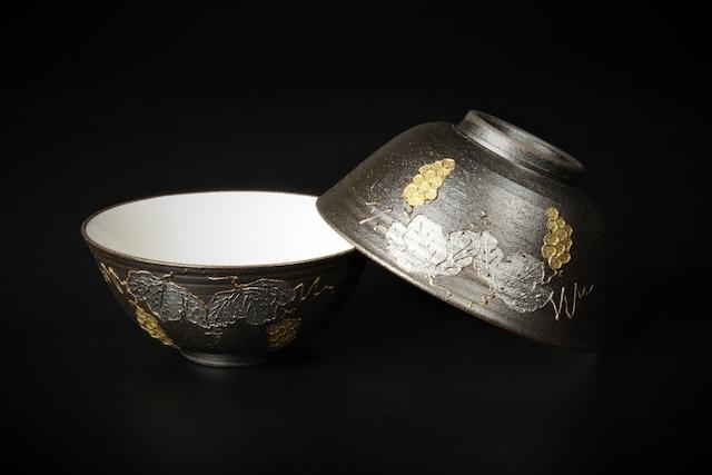 金銀彩ぶどう南蛮飯碗 清水焼