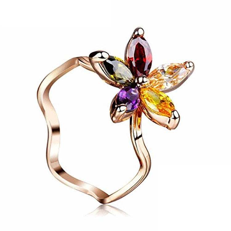 IUHA 夏の花 リング 指輪 オーストリア産 キュービック・ジルコニア 金属アレルギー対応 変色防止   062iuhat