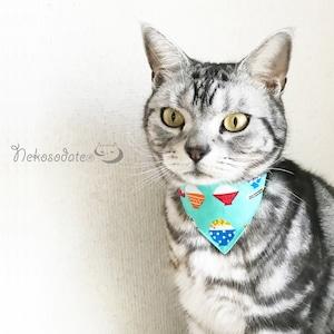 【ごはんいっぱい柄】猫用バンダナ風首輪/選べるアジャスター 猫首輪 安全首輪 子猫から成猫