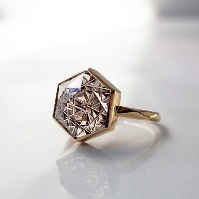 Smoky Quartz KIRIKO Ring (Hexagon 10 / R165-BS)