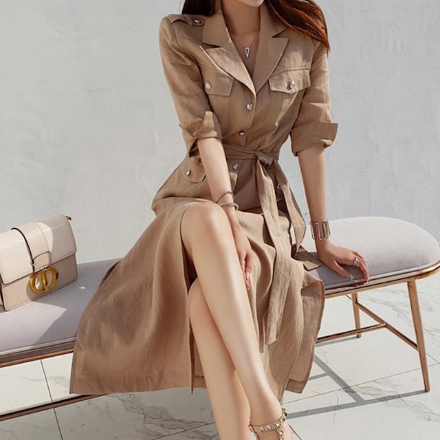 ワンピース ロングドレス シングルブレスト 大人コーデ  シャツワンピース カジュアル ロングワンピース ベージュ ダークブルー S M L