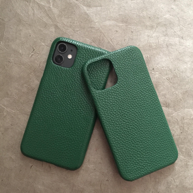 【iPhone11/12/12Pro/12ProMaxカバー】本革iphoneケース 牛革 グリーン