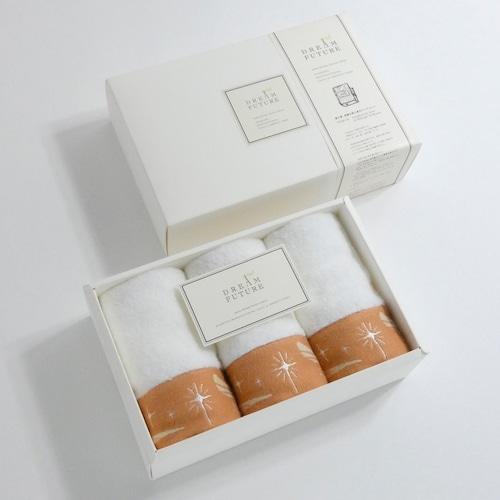 無撚糸(むねんし)高級Hand Towel 3枚SET Twinkle ORANGE / Twinkle ORANGE / Twinkle ORANGE