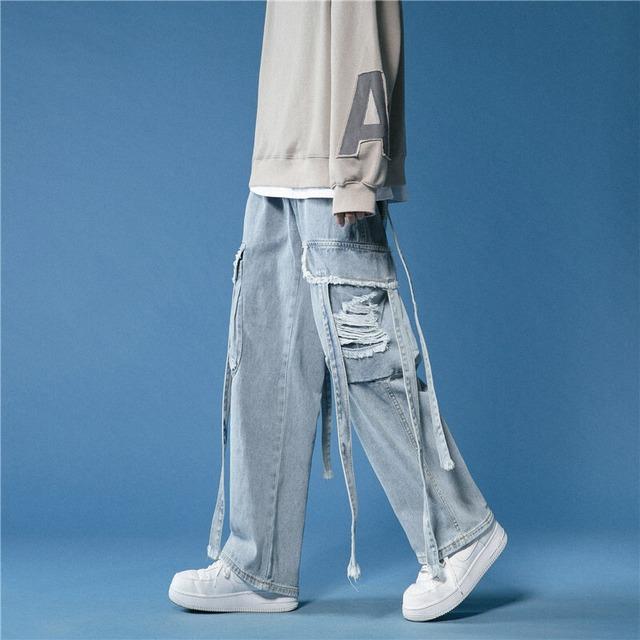 【ボトムス】ファッションダメージ加工バンド飾りデニムパンツ42911691