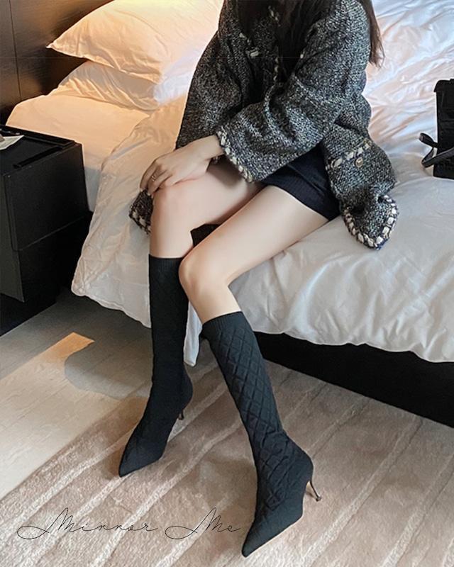 【本革】キルティングソックスデザインロングブーツ