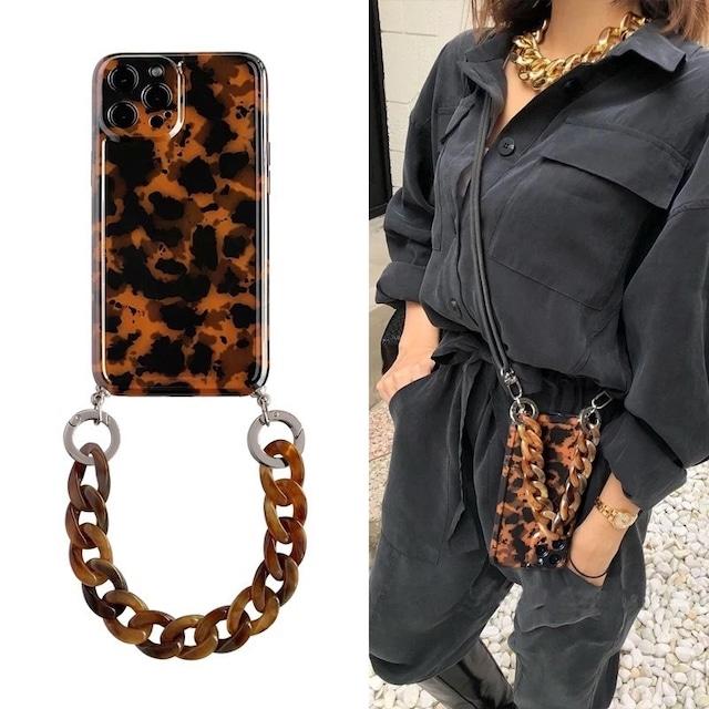 チェーン付き Tortoiseshell iphone case