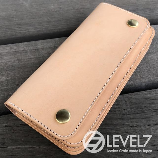トラッカーズウォレット/ロングウォレット イタリアンレザー 生成りのヌメ革使用 日本製 真鍮ホック LEVEL7