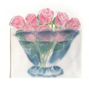 薔薇の花束カード 花瓶の封筒付き