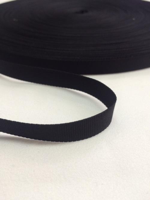 ナイロン 平織(グログラン)10mm幅 黒 1m