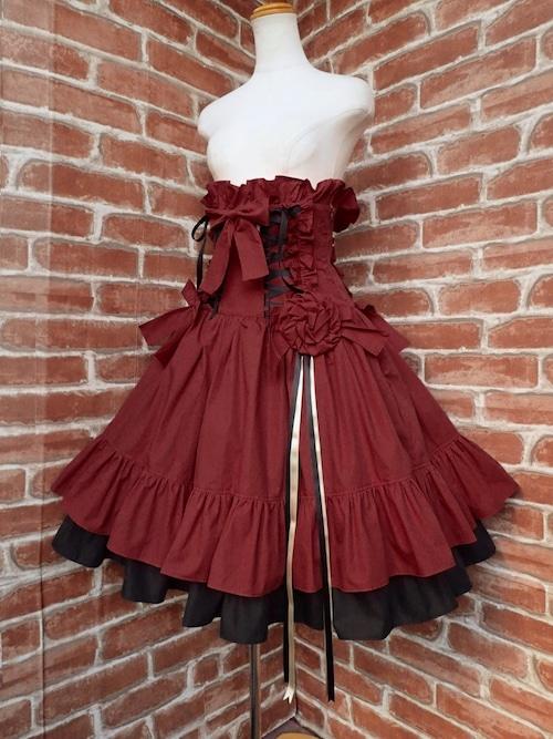 フリルコルセットスカート薔薇リボンコサージュ付き 赤