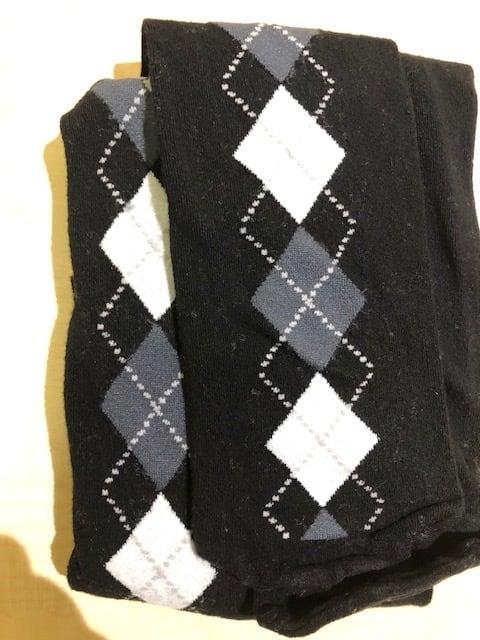 DolciCalze (ドルチカルゼ)イタリア製 05-3132 黒xアーガイル柄グレー濃淡+白タイツ