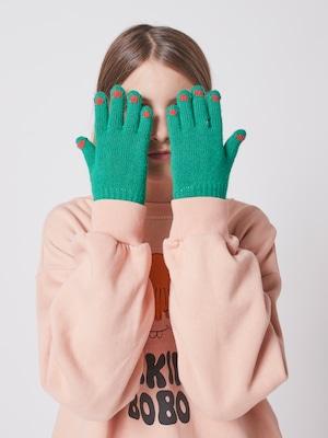 【予約8月入荷】bobochoses(ボボショセス)Hands pink knitted gloves 手袋【グリーン】