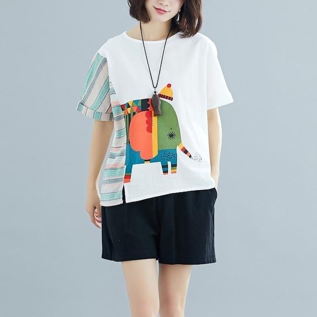 コットンリネン ネックカラーブロックルーズ Tシャツ 2色