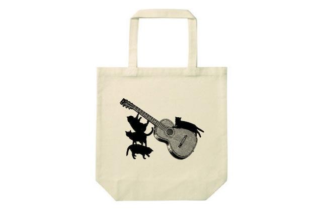 ギターと黒猫のトートバッグ