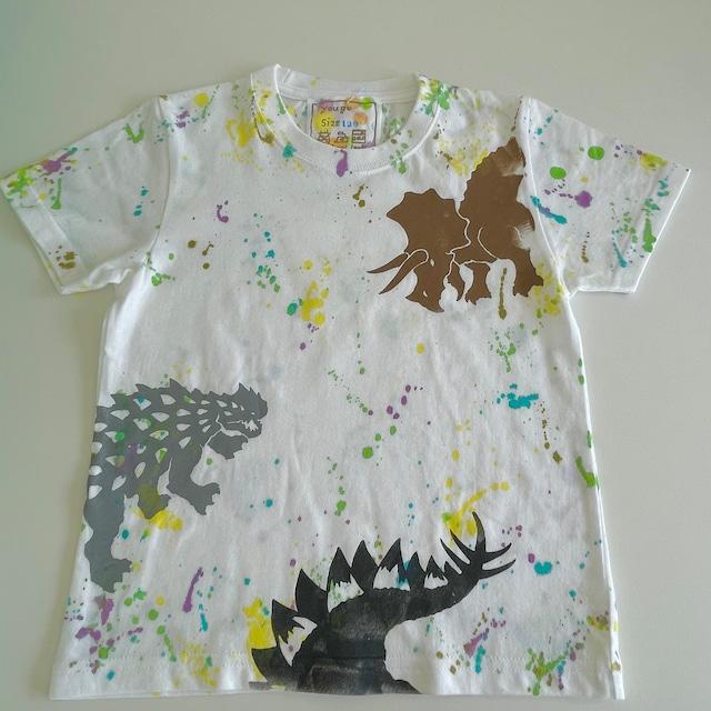 受注制作kidsTシャツ「トリケラトプスvsアンキロサウルスvsステゴサウルス」100cm~140対応