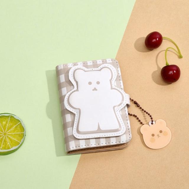 財布 折財布 カードケース 韓国 シンプルクマチャーム付きカード入れ カード 大容量 小銭入れ 使いやすい 小さめ シンプル かわいい おしゃれ コンパクト 柔らかい 合成皮革