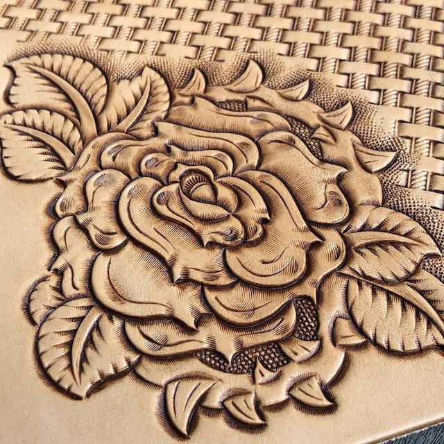 【バックグラウンド 3種スタンプ選択可】長財布 ロングウォレット 花一輪 薔薇 フラワーカービング 手縫い イタリアンレザー ヌメ革 バイカーズウォレット 日本製 LW-FC1-ROSE LEVEL7