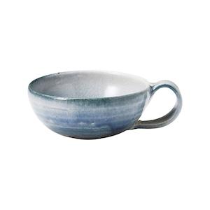 信楽焼 へちもん スープ マグカップ 約370ml 藍吹き MR-3-3312