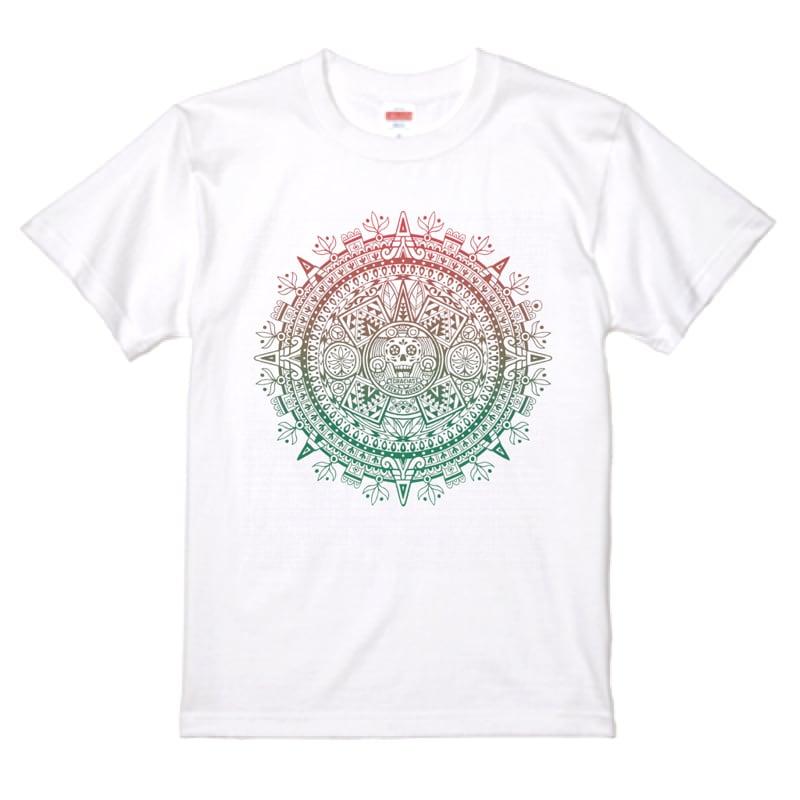 AZTECA CALENDAR 古代カレンダーに思いを馳せて アステカ カレンダー 白Tシャツ