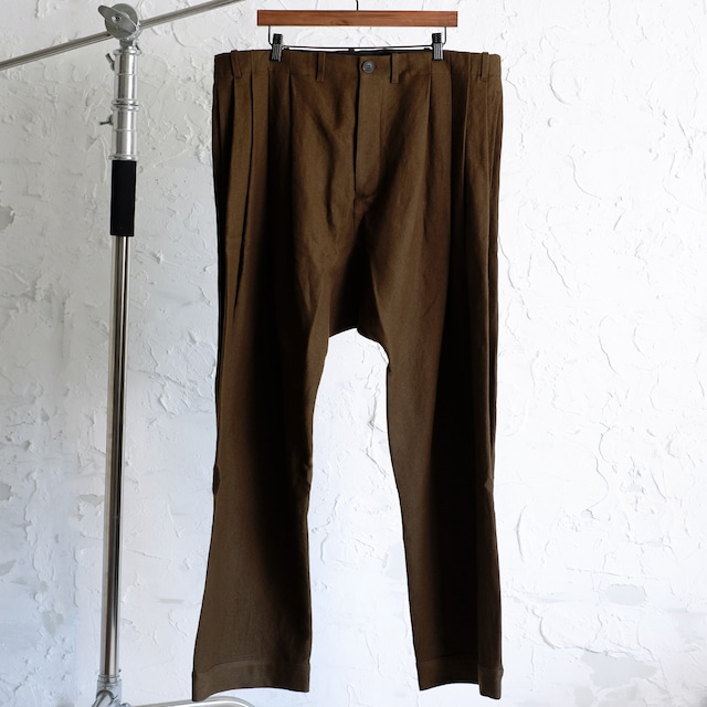 JAN JAN VAN ESSCHE - LOOSE FIT PLEATED TROUSERS WITH DRAWSTRING IN WAISTBAND #65 - OLIVE VINTAGE -  WOOL / LINEN