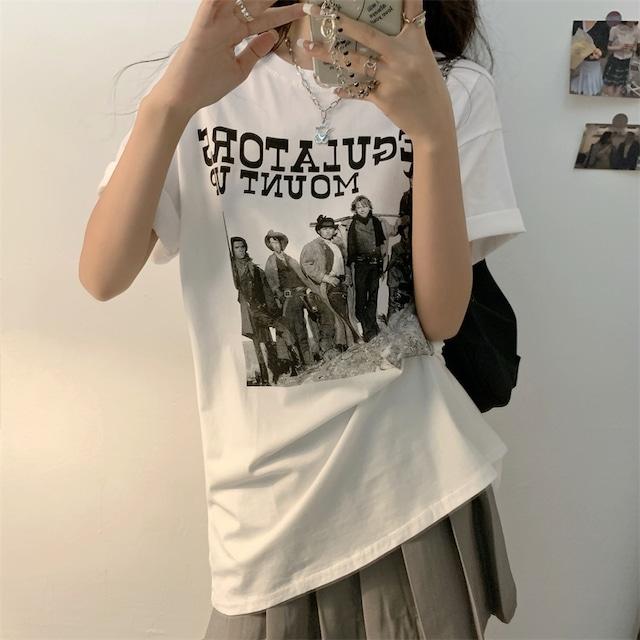 【トップス】insレトロアルファベットプリントTシャツ46859713