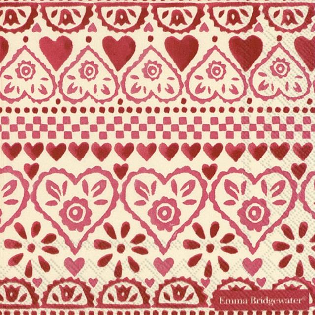 【Emma Bridgewater】バラ売り2枚 ランチサイズ ペーパーナプキン SAMPLER ピンク