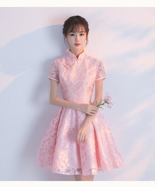 チャイナ風ドレス ショート丈 Aライン 刺繡 シースルー 二次会 パーティー お呼ばれ wb061