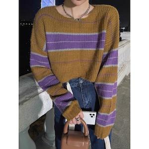 khaki border knit