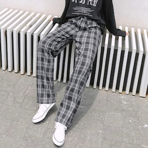 【ボトムス】 チェック柄シンプルファッションシンプル通勤カジュアルパンツ42907536