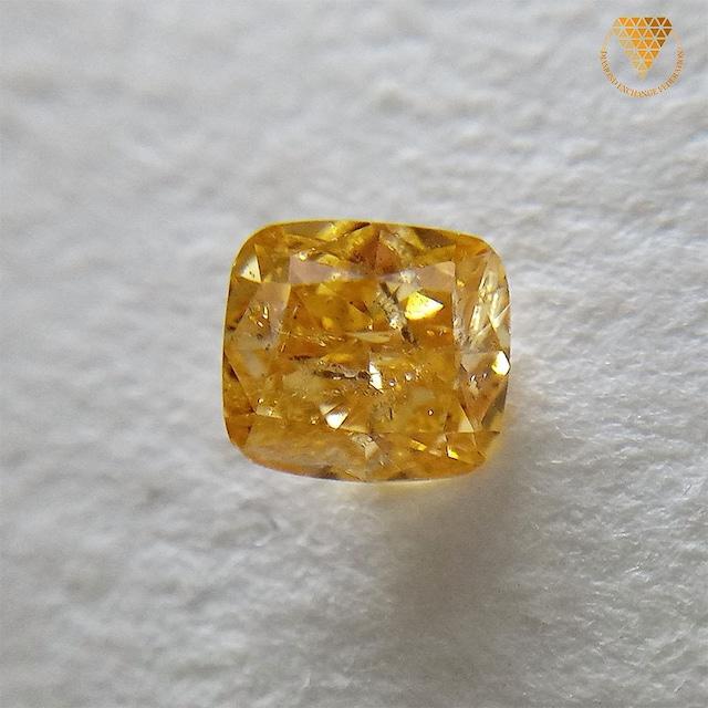 0.221 ct Fancy Intense Orange Yellow I1 天然 オレンジ イエロー ダイヤモンド ルース