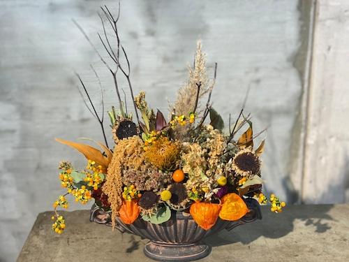 秋のドライフラワーアレンジメント