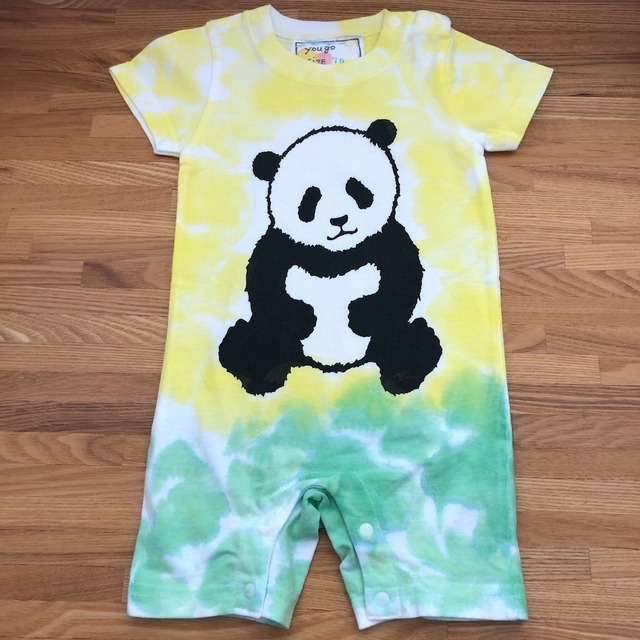 受注制作 babyロンパース「パンダ バイカラー 黄色と緑」80cm