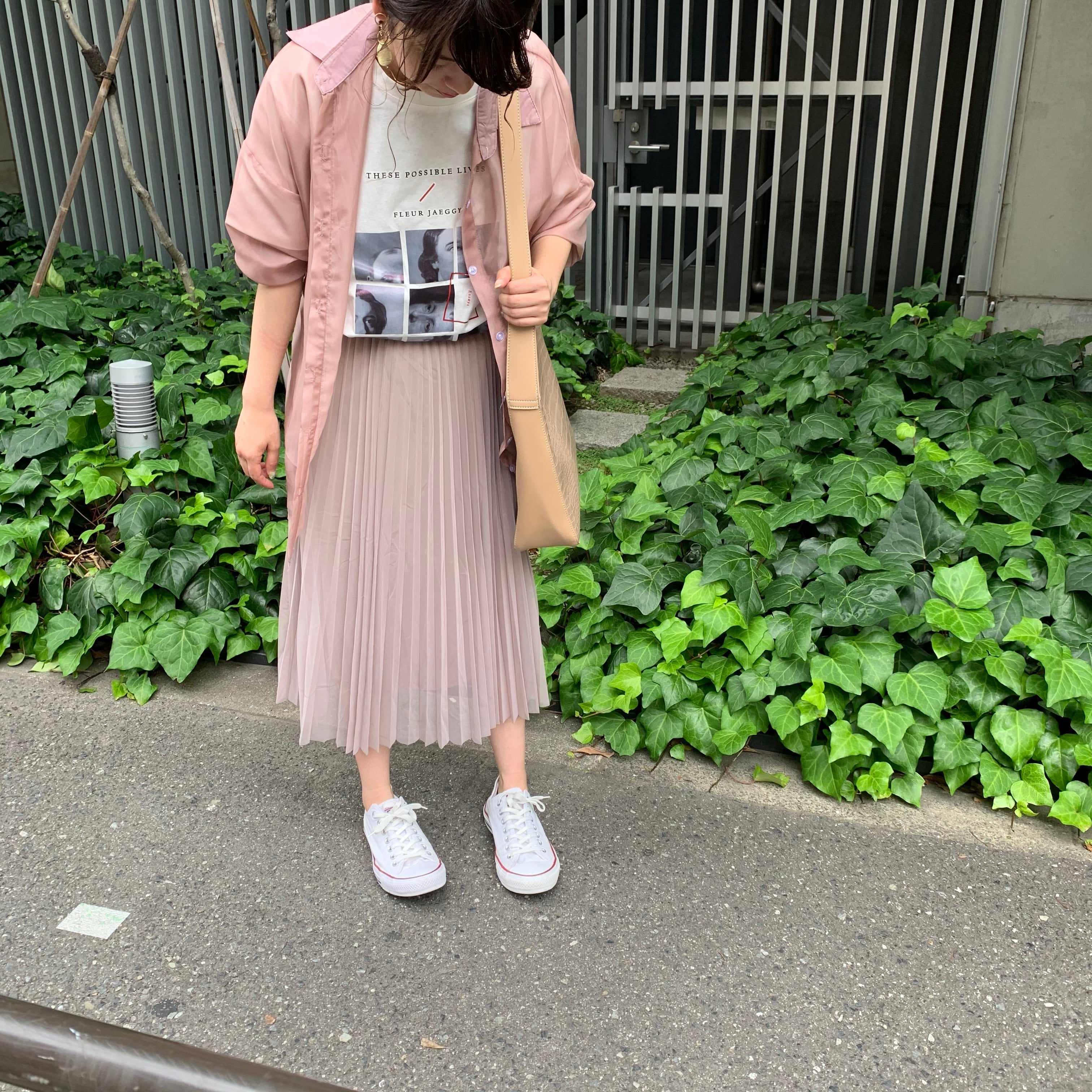 プリーツスカート(アイボリー・グレー・ブラウン・グリーン・ライトグレー・ピンク・キャメル) 春夏 透け感 シフォン