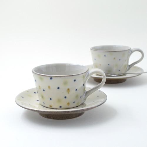三彩水玉のカップ&ソーサー