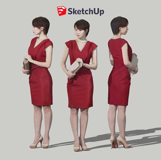 SketchUp素材 3D人物モデル ( Posed ) 023_Haru - メイン画像