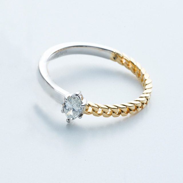 Marquise Diamond on Combination Ring / Pt900 & K18YG