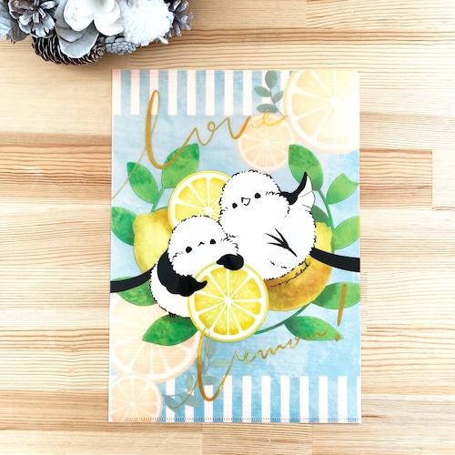 シマエナガのクリアファイル(レモン)