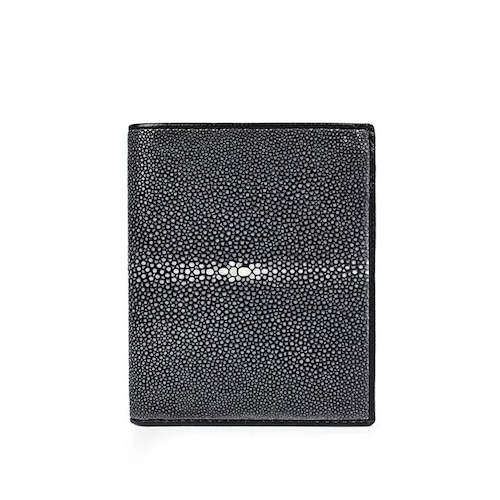 【エイ革財布】メンズ 二つ折り財布 カードホルダー 超薄型 スティングレイ【金運アップ】