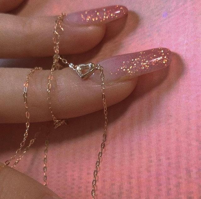 bone HEART necklace K18YellowGold, K18PinkGold   #LJ19042N
