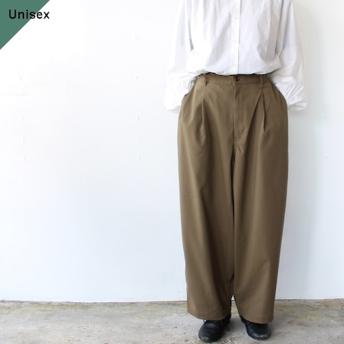 HARVESTY ワイドエッグロングパンツ T/R Wide Egg Long Pants オリーブ