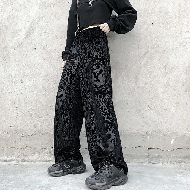 チャイナ風ズボン ボトムス  中華服 改良唐装 ブラック 黒い 男女兼用 ベルベット 着痩せ