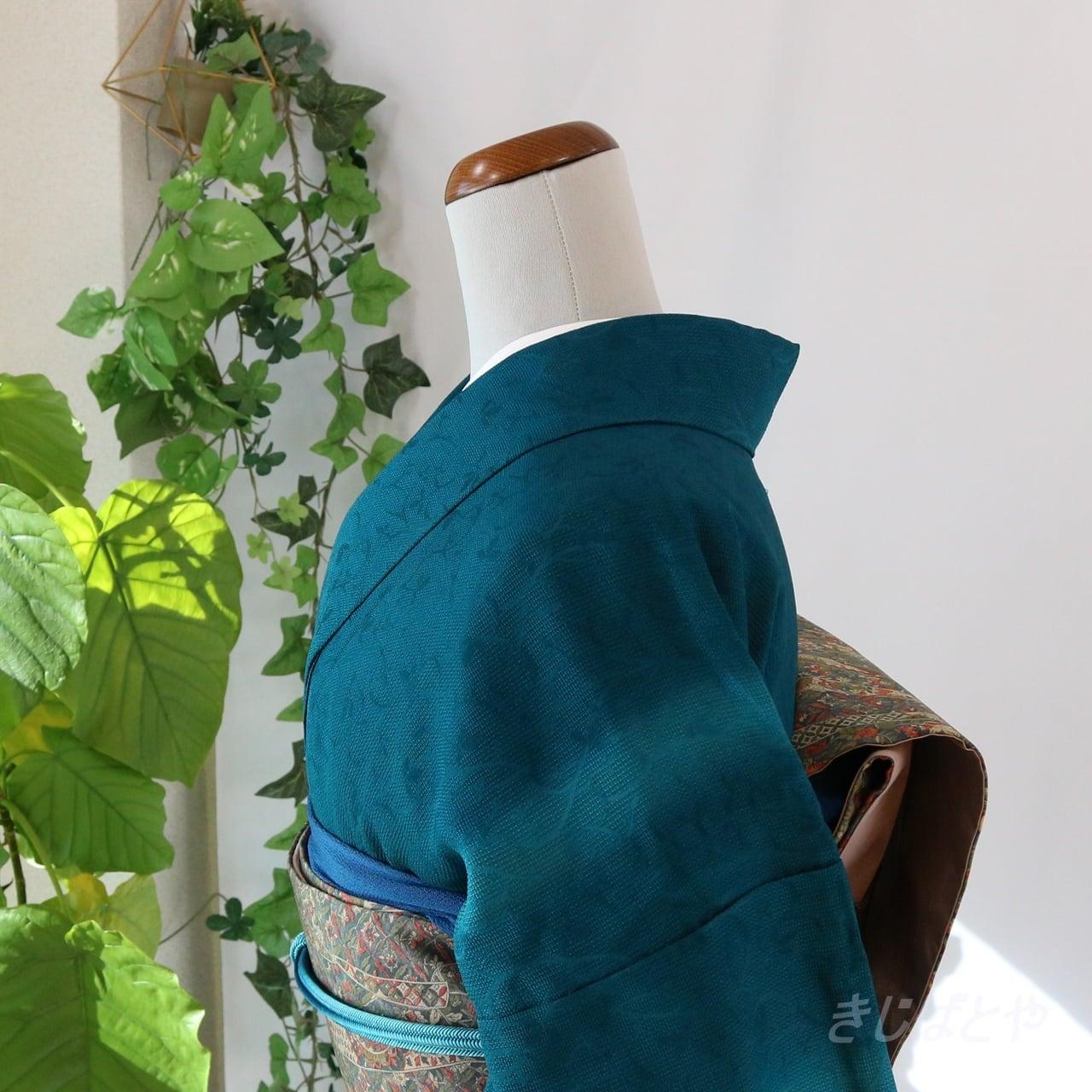 正絹 納戸色のぼかしのレース織りの小紋 袷