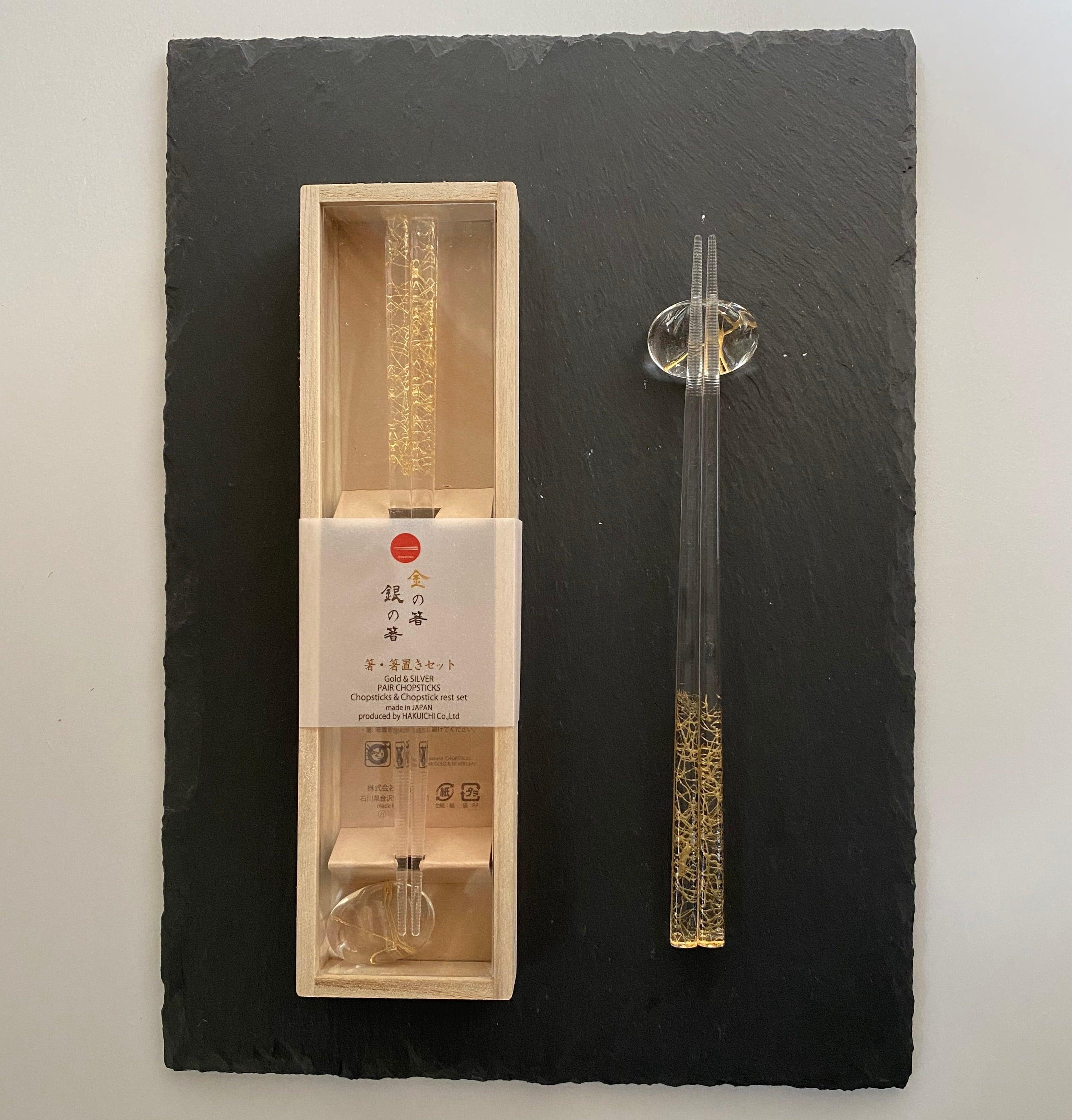 クリア箸+ガラス箸置きセット 金糸