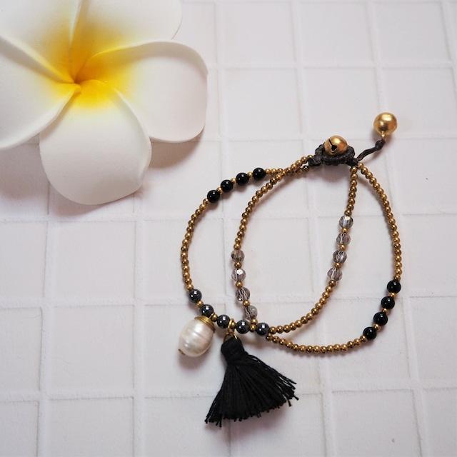 Tussel Pearl 2lined Bracelet《BLK》18385003G