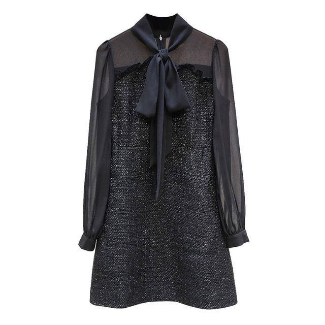 リボン シフォン ツイード ドレス【R1296】