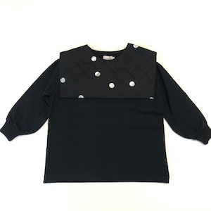 【21AW】フランキーグロウ ( frankygrow )REMOVABLE QUILTING SAILOR COLLAR L/S TEE[ S / M / L ]black-black*silver dots collarトップス ロンT