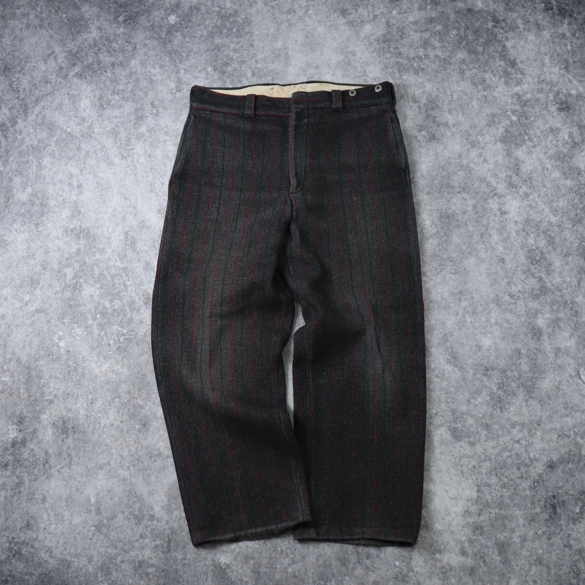 """80s """" Woolrich """"  Malone  Wool  Trousers  W34   80年代 ウールリッチ マローンパンツ ウールパンツ ストライプ アメリカ製 古着 A628"""